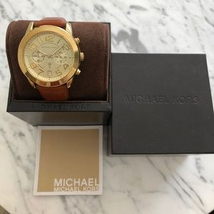 MICHAEL KORS Gold-Tone and Leather Watch